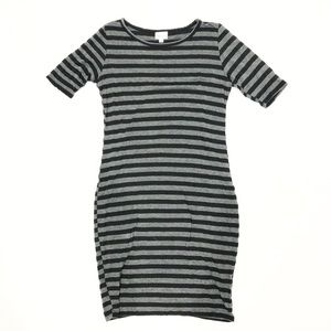 LuLaRoe Julia Black Grey Stripe Dress